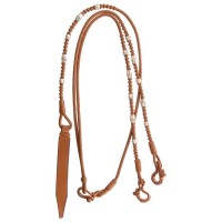 Rolled romel western show reins