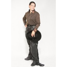 RHC Western top grain leather fringed chaps