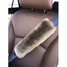 Merino sheepskin seat belt strap cover