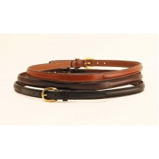 Tory raised bridle-leather belt w/engraved plate